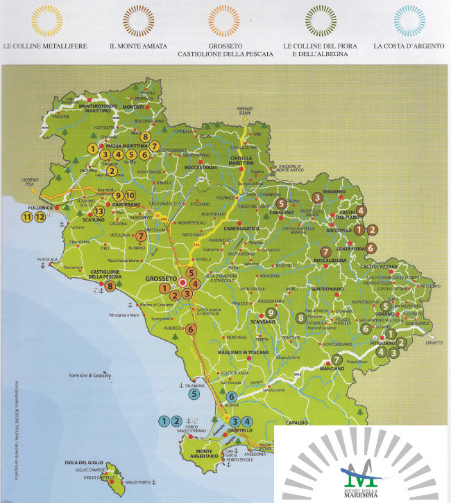 Map of Maremma Museums, Tuscany